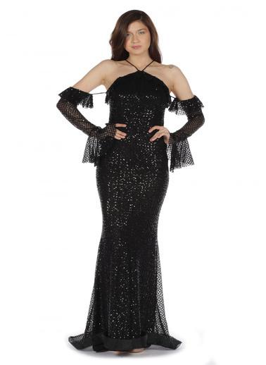 Pierre Cardin Payetli Balık Uzun Kollu Abiye Elbise Siyah